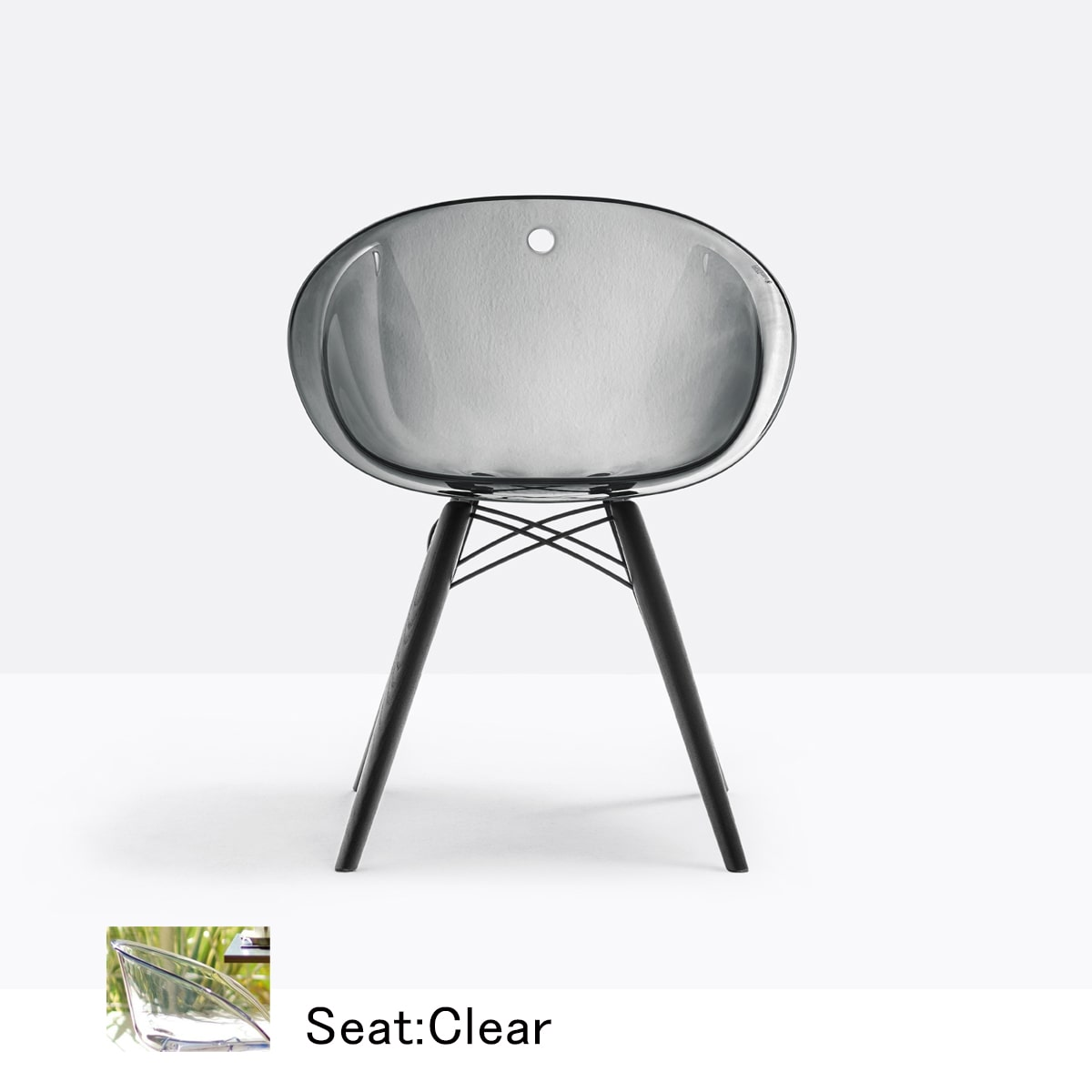 Seat:Clear TR × Legs:Black lacquered Oak